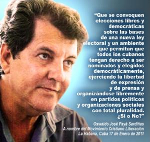 Oswaldo José Payá Sardiñas (1952-2012). Imagen tomada de una revista del Movimiento Cristiano Liberación. Clic en la imagen para agrandarla.